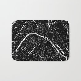 Paris France Minimal Street Map - Black on White Bath Mat