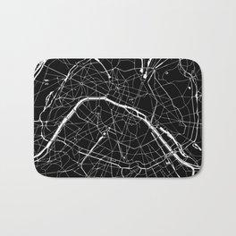 Paris France Minimal Street Map - Black on White Bath Mat