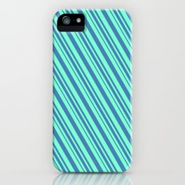 Aquamarine and Blue Colored Lines Pattern iPhone Case