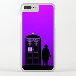 Tardis With The Fourth Doctor Clear iPhone Case