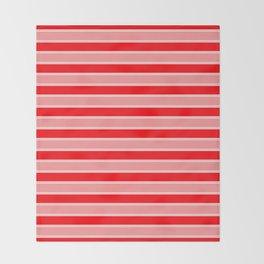 Large Horizontal Christmas Holiday Red Velvet and White Bed Stripe Throw Blanket