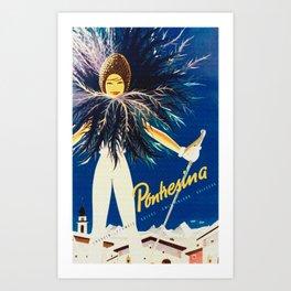 Vintage Travel Pontresina Switzerland Art Print