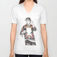 coconutwishes V-neck T-shirts featuring Liam Floral by Coconut Wishes