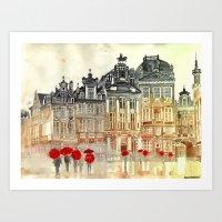 takmaj Art Prints featuring market in Brussels  by takmaj