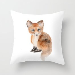 Baby fox watercolor  Throw Pillow