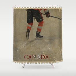 Taking to the Ice - Ice Hockey Postage Stamp Art Shower Curtain
