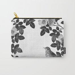 Birds and the Bees Black and White Carry-All Pouch