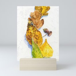 autumn leaves (watercolor on textured background) Mini Art Print
