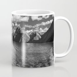 A boat ride in the morning at Milford Sound in black and white Coffee Mug