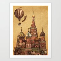 moscow Art Prints featuring Trip to Moscow by Terry Fan