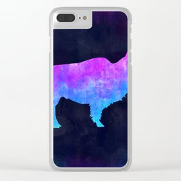 BUFFALO IN SPACE // Animal Graphic Art // Watercolor Canvas Painting // Modern Minimal Cute Clear iPhone Case
