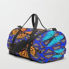 MODERN BUTTERFLY BLUE ABSTRACT WORLD Duffle Bag