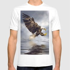 Bald Eagle swooping White MEDIUM Mens Fitted Tee