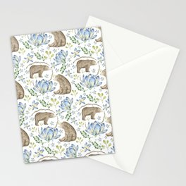 Bears in Blue Flowers Stationery Cards