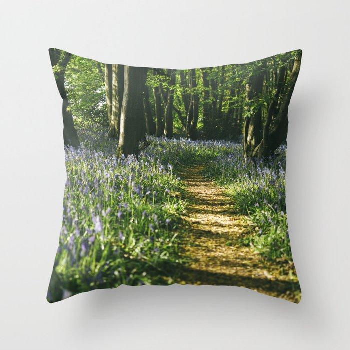 Path Through Wild Bluebells In Ancient Woodland Wayland Wood Norfolk Uk Throw Pillow