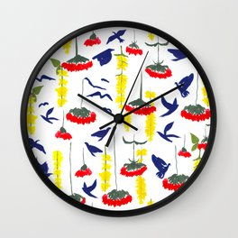 Flowers and Birds Repeated Pattern Wall Clock