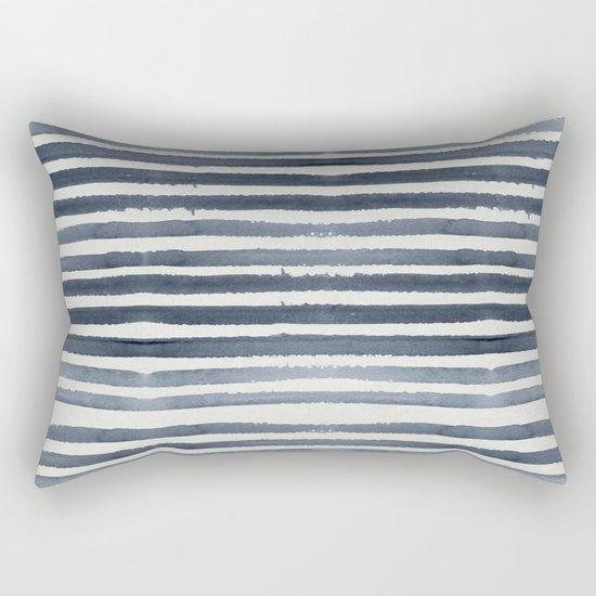 Simply Shibori Stripes Indigo Blue on Lunar Gray Rectangular Pillow