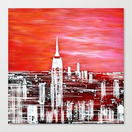 Abstract Red In The City Design Canvas Print