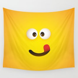 Smiling Emoji with Stuck Out Tongue Wall Tapestry