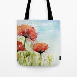 Red Flowers Watercolor Poppies Tote Bag
