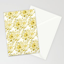 Flower bouquet with poppies - yellow Stationery Cards