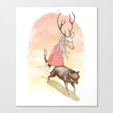 wolf and dear Canvas Print