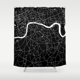 Black on White London Street Map II Shower Curtain