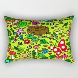 Cartoon Garden Scene Rectangular Pillow