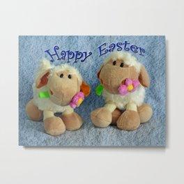 Happy Easter Lambs Metal Print