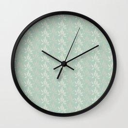 Floral Pattern in Greyish Green Wall Clock