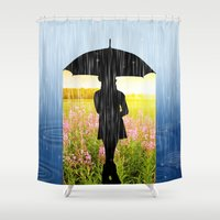 umbrella Shower Curtains featuring Umbrella by Cs025