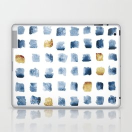 Watercolor Indigo Gold Geometrical Squares Pattern Laptop & iPad Skin