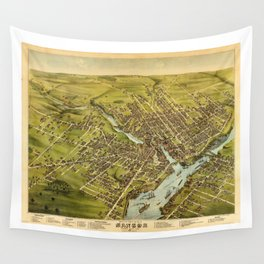 Bird's eye view of the City of Bangor, Penobscot County, Maine (1875) Wall Tapestry