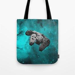 Millennium Falcon on Teal Stars Tote Bag