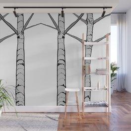 Poplar Tree Illustrated Print Wall Mural