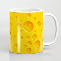 cheese Mugs featuring Cheese by MikiMikibo