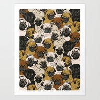 dogs Art Prints featuring Social Pugz by Huebucket