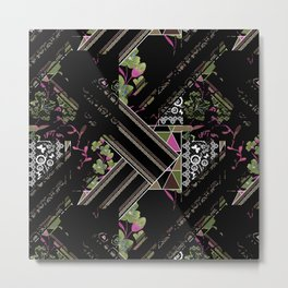 Floral-geometric pattern on a black background. Metal Print