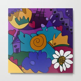 """""""Before the Celebration"""" bold, colorful doodle art Metal Print"""