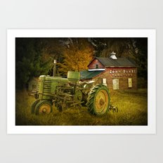 Old Vintage John Deere Tractor on a Farm Art Print