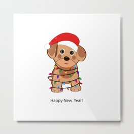 Cute dog with Santa Claus hat and light bulb Metal Print