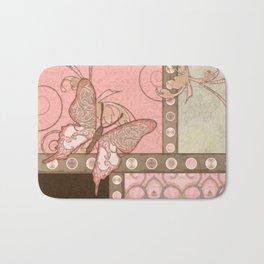 Butterfly Scroll Damask Lace Swirl Polka Dot Modern Pattern Watercolor Art Bath Mat