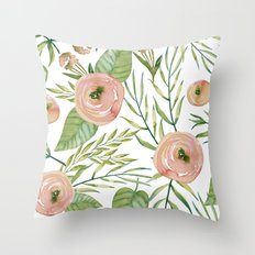 Country Rose Garden Throw Pillow