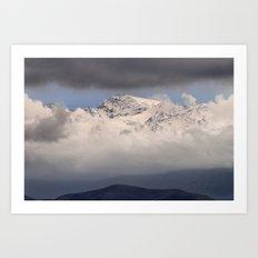 High mountains through the fog Art Print