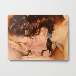 NSFW! Adult content! Good daddy's girl suck it deep, ponytail blow, adult erotic Metal Print