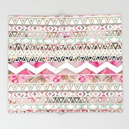 Aztec Spring Time! | Girly Pink White Floral Abstract Aztec Pattern Throw Blanket