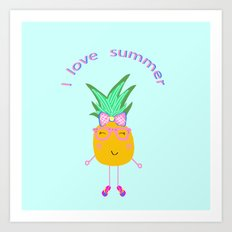 Cute Hipster Pineapple Art Print