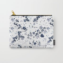 Indigo Blue Clematis Floral Pattern Carry-All Pouch