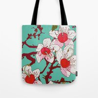 cherry blossoms Tote Bags featuring Cherry Blossoms by minniemorrisart