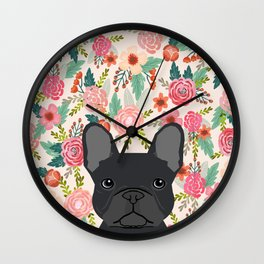 French Bulldog floral dog head cute pet gifts dog breed frenchies Wall Clock